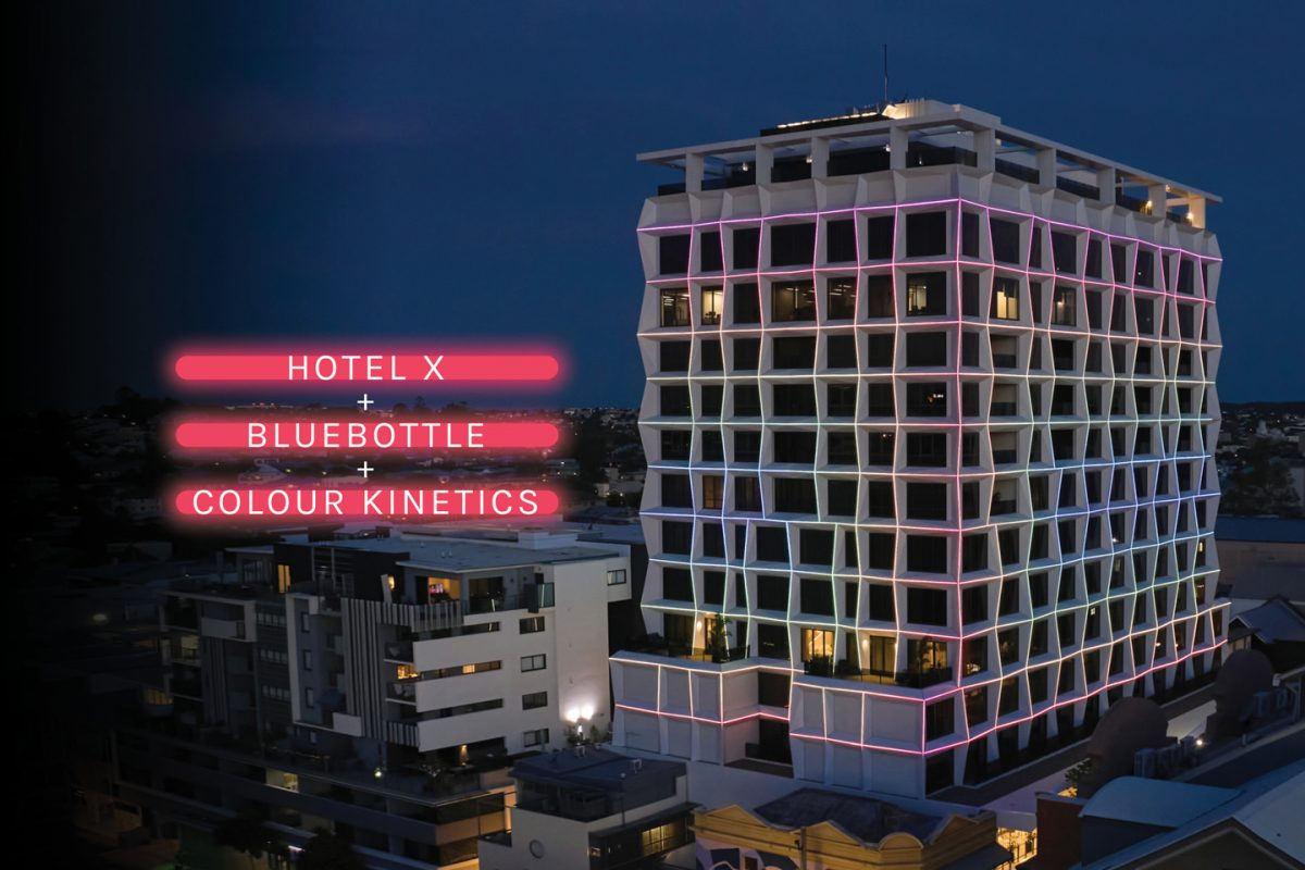 Custom façade lighting system for Hotel X by bluebottle